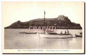 Postcard Old Bay of Mont Saint Michel stars circling Tombelaine