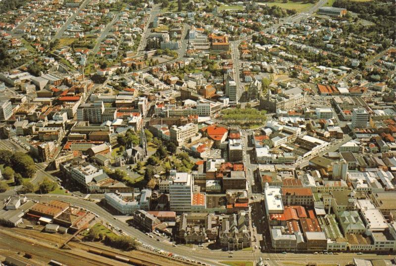 New Zealand Postcard, 1983 Dunedin, Aerial View of Central City, Otago X66
