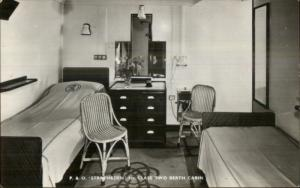P&O Steamship Stratheden Bedroom Cabin 1st Class Real Photo Postcard
