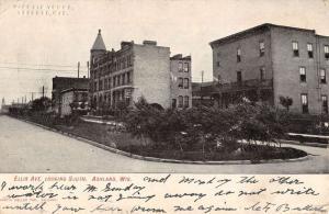 Ashland Wisconsin Ellis Avenue Street Scene Antique Postcard K84456