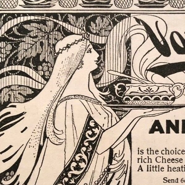 1890s print ad VAN CAMPS MACARONI AND CHEESE > great art nouveau illustration