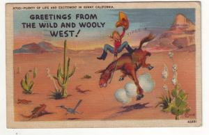 P574 JLs 1944 linen used soldiers mail greetings from wild wooly west