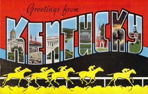 Linen Era,Large Letter,Greetings From Kentucky, Horses, Old Postcard