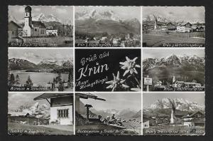 Grüß aus Krün multi-view RPPC fancy cancel used c1953