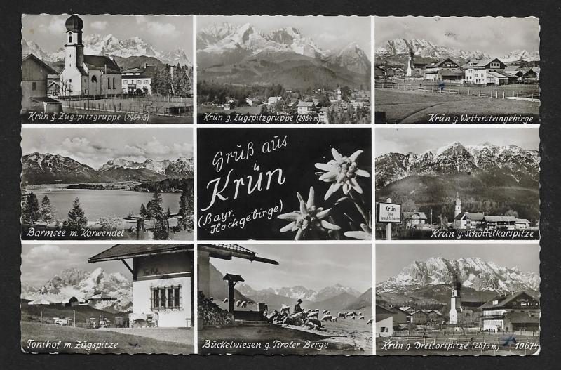 Grus aus Krun multi-view RPPC fancy cancel used c1953