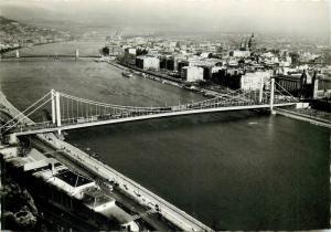 Hungary Budapest Danube bridge panorama 1960s RPPC