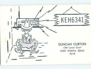 Pre-1980 RADIO CARD - CB HAM OR QSL Fort Worth Texas TX AH2839