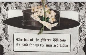 Merry Widow Hat~Black Wide Brim~Add On Flowers~Lovely Lady Border~Married Kiddo