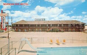 Rolla Missouri~Norman Dee Motel~Silde In to Swimming Pool 1960s Postcard
