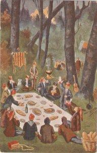 jJ.Ibañez. Popular country meal. Carameliasl Nice Spanish vintage postcard
