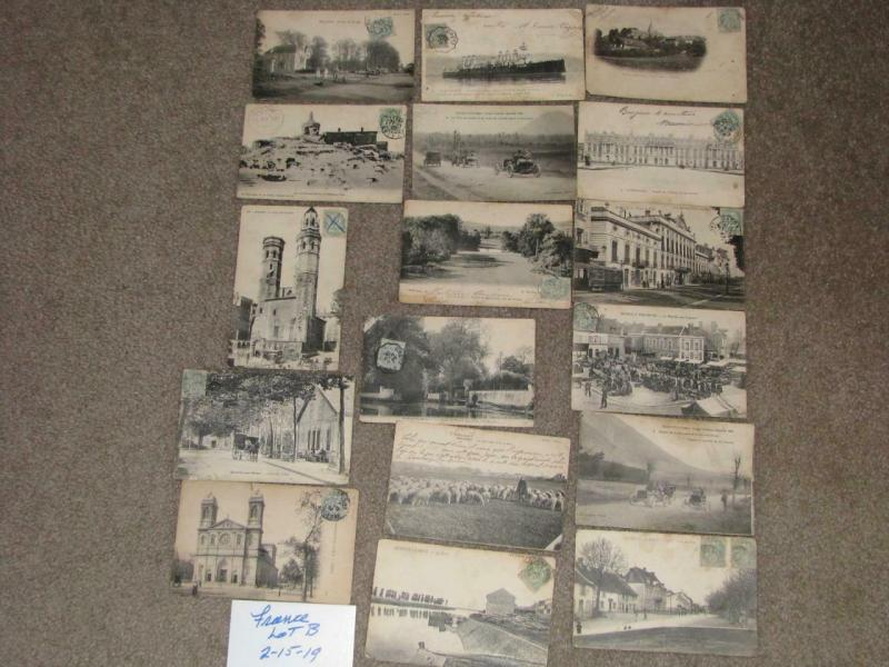 17 different postcards from France, most with stamps affixed on the front, lot B