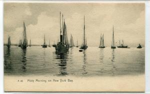 Sailing Ships Boats New York Bay New York City NYC 1907c postcard