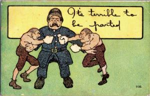 Boxers Fighters Police Cop Terrible to be Parted c1909 Vintage Postcard M23