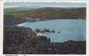 New York Adirondack Mountains Rocky Point And Inlet Fourth Lake Fulrth Lake F...