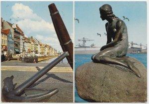KOBENHAVN, COPENHAGEN, Nyhavn and the Little Mermaid, 1975 used Postcard
