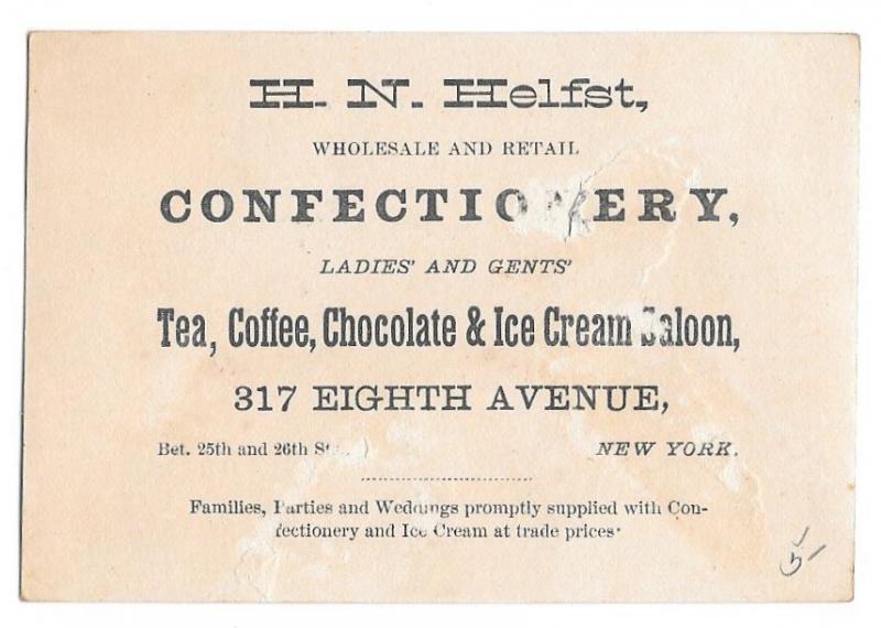Victorian Trade Card HN Helfst NYC Confectionery Children