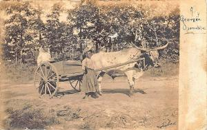 A Georgia Oxmobile Signed Fisher Black Man & Woman Real Photo RPPC Postcard