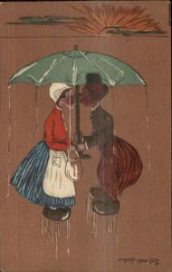 Art Deco Setting Dun Rain Kissing Dutch People Under Umbrella PPP Postcard