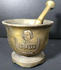 Vintage Mortar and Pestle Dr. John Morgan NAME Brass Metal Heavy