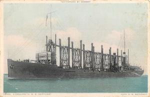 Collier USS Neptune Ship Waterfront Antique Postcard K80109