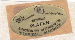 GERMANY NIERSTEIN HOTEL KURPFALZ VINTAGE LUGGAGE LABEL