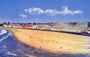 Santa Ana CA Roller Coaster & Amusement Park Rides~Octopus? Beach 1950s Postcard