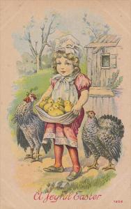 A Joyful Easter, Girl holding chicks in apron, Rooster and hen, 00-10s