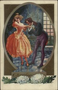 Art Deco Handsome Man Kisses Woman's Hand Ballroom Chrysanthemums
