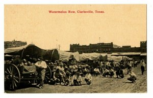 Clarksville Texas Postcard Watermelon Row Workers Covered Wagons Fruit #75259