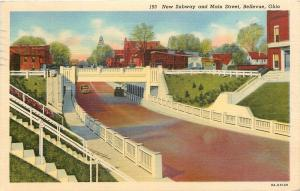 Bellevue Ohio~New Subway~Main Street~Bridge~Texaco~Ice Truck~1938 Postcard