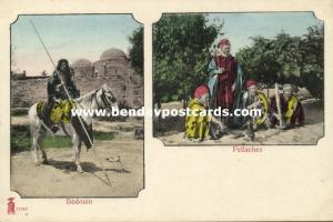 Bedouin Man on Horse in front of Mosque, Islam, Group Fellaches (1899)
