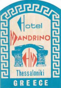 GREECE THESSALONIKI HOTEL MANDRINO VINTAGE LUGGAGE LABEL