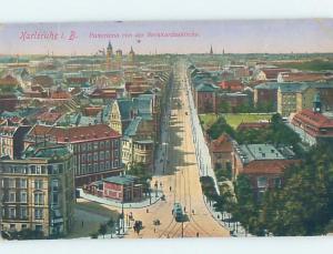Old Postcard STREET VIEW Karlsruhe - Carlsruhe - Baden-Wurttemberg Germany F5537