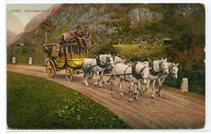 Swiss Stage Coach Schweizerische Gebirgspost Switzerland 1910c postcard