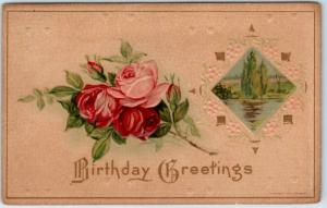 Vintage HAPPY BIRTHDAY Postcard Pink & Red Roses/ River Scene 1910 Cancel