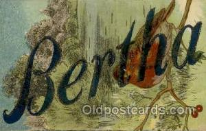 Bertha Large Letter Name, Names, Postcard Postcards  Bertha