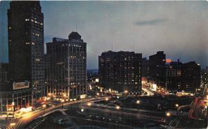 Detroit Michigan~Bird's Eye View West @ Grand Circus Park at Night~1950s Pc