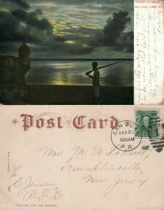 SAN JUAN PUERTO SENTRY ON GUARD 1908 ANTIQUE UNDIVIDED POSTCARD w/ CORK STAMP