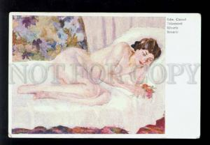 074881 NUDE Female BELLE on bed by CUCUEL old Modernist style