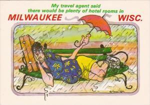 Wisconsin Milwaukee Greetings Hunour Woman On Park Bench