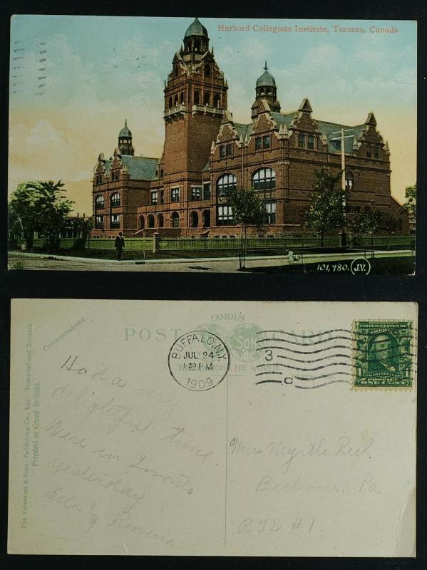Harbord Collegiate Institute Toronto pmk Buffalo 1909