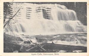 Ontonagon Michigan Agate Water Falls Scenic View Antique Postcard K106255