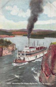 Steamer Ascending Five Finger Rapids WP&Y Railway Alaska 1910c postcard