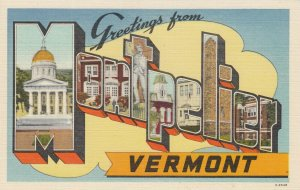Large Letter MONTPELIER, Vermont, 1930-40s