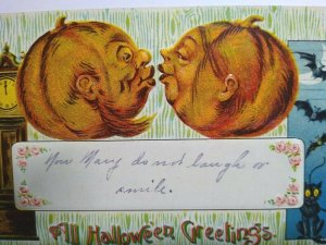 Vintage Halloween Postcard Gottschalk Kissing Goblins Bats Black Cat Series 2276