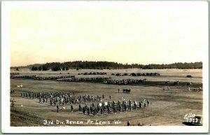 1940s FORT LEWIS Washington RPPC Photo Postcard 3RD DIVISION REVIEW Ellis 7319
