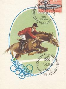 Equestrian Horse Jumping Olympic Games Postcard Vintage 1960 First Day Cover