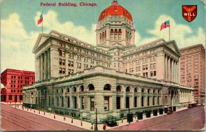 Vtg Postcard 1911 Chicago Illinois IL Federal Building - I Will Shield Crest