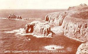 Lands End Enys Dodnan Armed Knight Real Photo Postcard