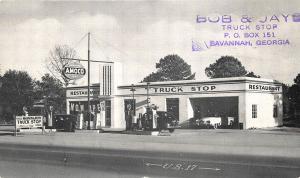 Savannah GA Amoco Gas Station Pumps Truck Stop Old Cars Restaurant Postcards